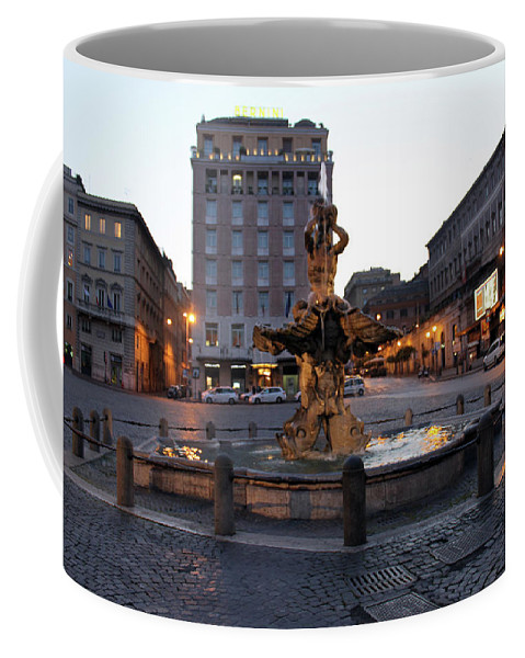 Piazza Coffee Mug featuring the photograph Piazza At Night by Munir Alawi