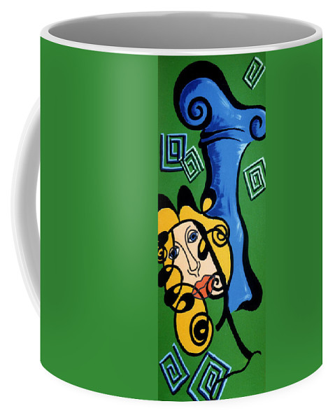 Coffee Mug featuring the painting Picasso Influence With A Greek Twist by Catt Kyriacou