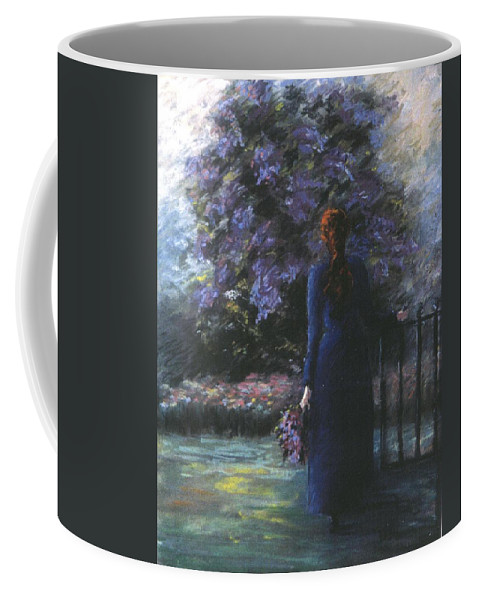 Woman Lilac Flower Tree Coffee Mug featuring the pastel Picking Lilacs by Pat Snook