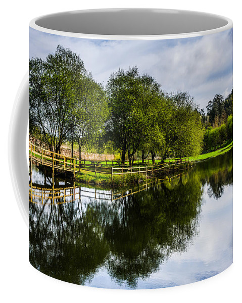 Wooden Bridge Coffee Mug featuring the photograph Picnic Area In The Marnel River IIi by Marco Oliveira
