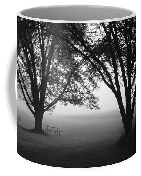 Fog Coffee Mug featuring the photograph Picnic In The Fog by Lauri Novak