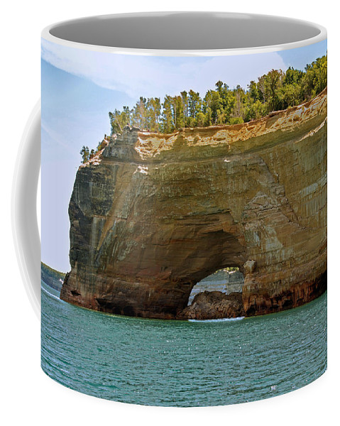 Landscape Coffee Mug featuring the photograph Pictured Rocks Arch by Michael Peychich