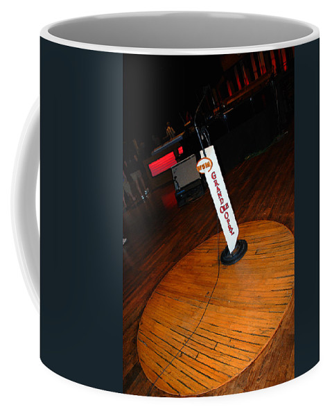 Stage Coffee Mug featuring the photograph Piece Of The Original Old Stage At The Grand Ole Opry In Nashville by Susanne Van Hulst
