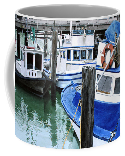 Water Scape Coffee Mug featuring the painting Pier 39 by Denny Bond
