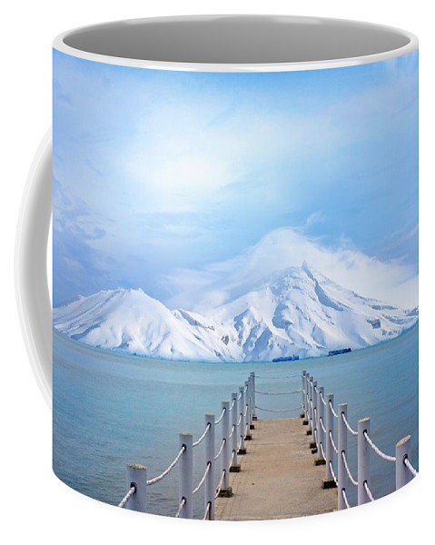 Port Coffee Mug featuring the photograph Pier And Mountain by FL collection