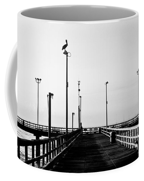 Bird Coffee Mug featuring the photograph Pier And Pelican by Marilyn Hunt