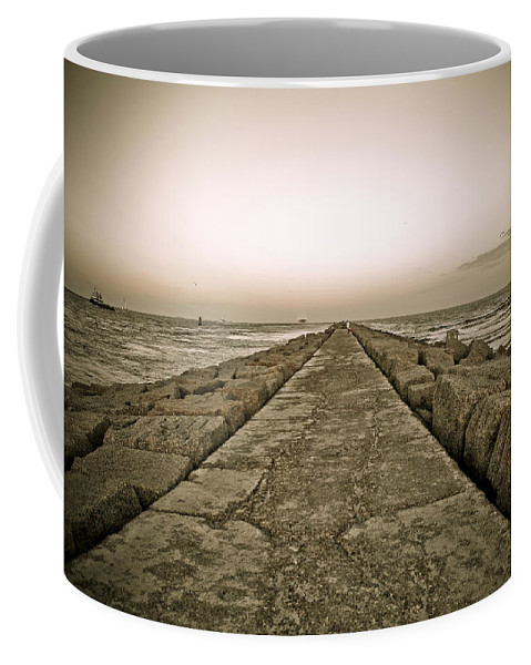 Water Coffee Mug featuring the photograph Pier At Sunset by Marilyn Hunt