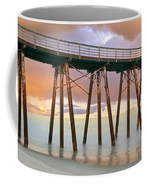 Photography Coffee Mug featuring the photograph Pier On Beach During Sunrise, Playas De by Panoramic Images