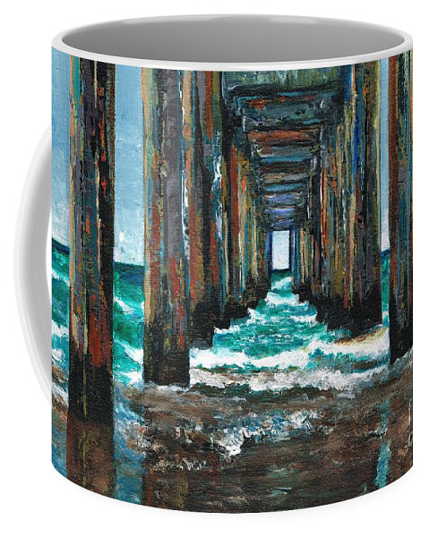 Ocean Coffee Mug featuring the painting Pier One by Frances Marino