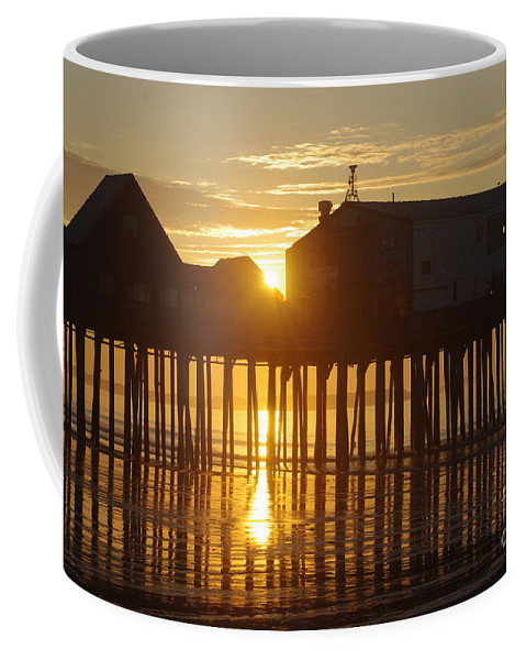Old Coffee Mug featuring the photograph Pier Sunrise by Ray Konopaske