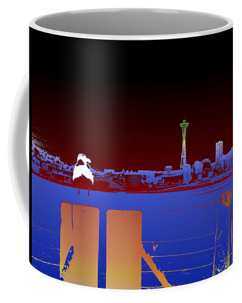 Seattle Coffee Mug featuring the digital art Pier With A View by Tim Allen