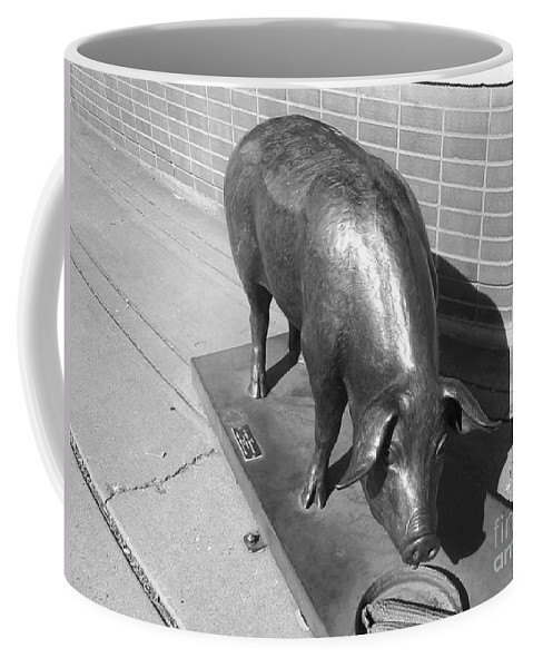 Pig Sculpture Coffee Mug featuring the photograph Pig Sculpture Grand Junction Co by Tommy Anderson