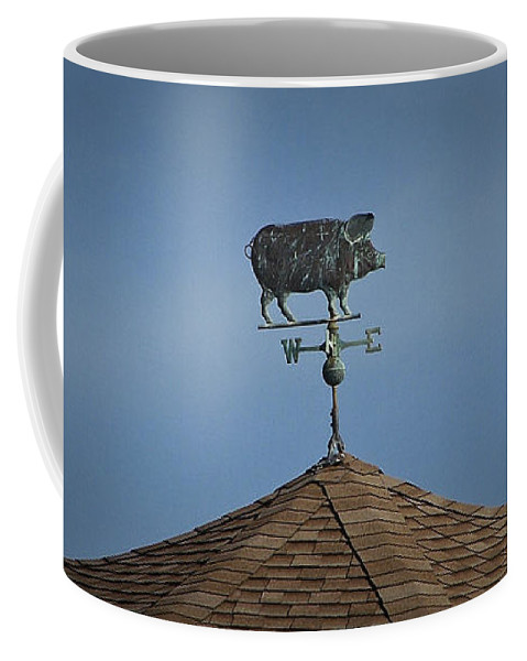 Pig Coffee Mug featuring the photograph Pig Weathervane Ocean Isle North Carolina by Teresa Mucha