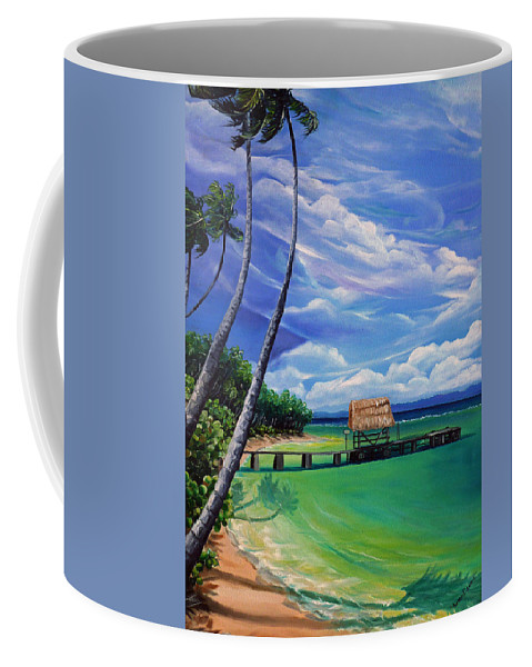 Ocean Paintings Caribbean Paintings Tropical Paintings  Beach Paintings Seascape Paintings Palm Tree Paintings  Trinidad & Tobago Paintings  Cloud Paintings Sky Paintings Pigeon Point Tobago Paintings Greeting Card Paintings Canvas Print Paintings Poster Print Paintings Coffee Mug featuring the painting Pigeon Point  Tobago by Karin Dawn Kelshall- Best