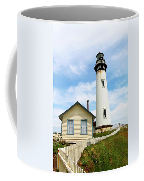 Pigeon Point Coffee Mug featuring the photograph Pigeon Point Lighthouse View by Art Block Collections
