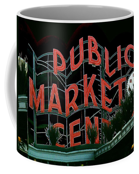 Seattle Coffee Mug featuring the digital art Pike Place Market Entrance 5 by Tim Allen