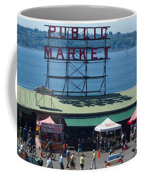 Market Coffee Mug featuring the photograph Pike Place Public Market by Louise Magno