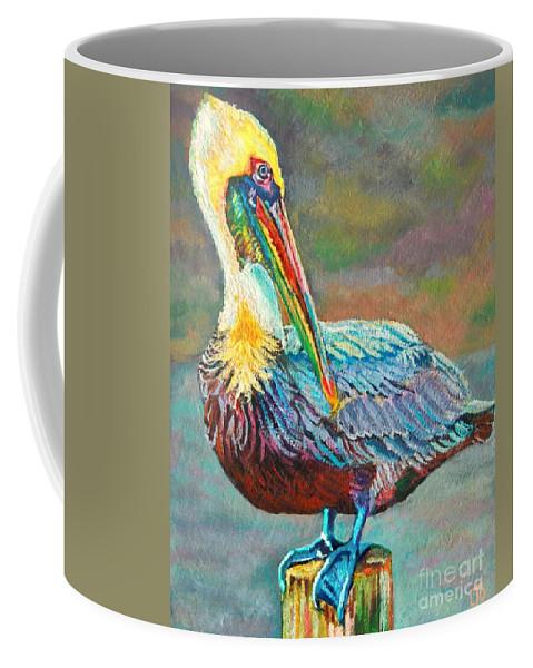 Art Coffee Mug featuring the painting Pile High Pelican by Lisa Tygier Diamond