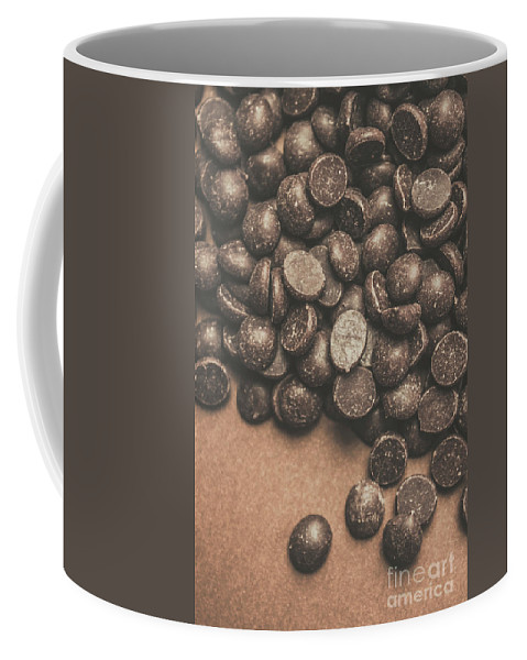 Chocolate Coffee Mug featuring the photograph Pile Of Chocolate Chip Chunks by Jorgo Photography - Wall Art Gallery