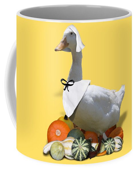 Thanksgiving Coffee Mug featuring the mixed media Pilgrim Duck by Gravityx9 Designs