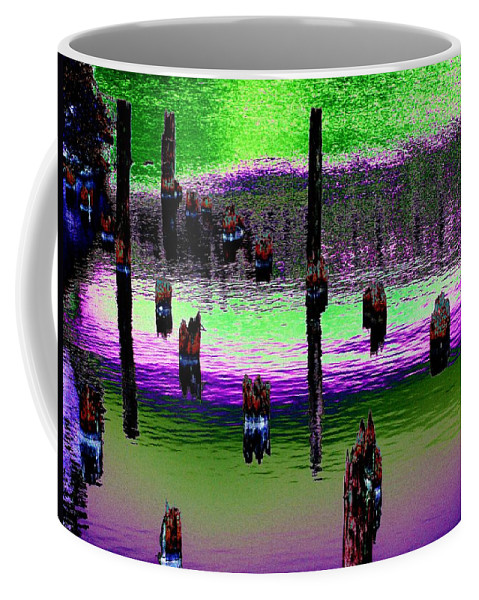 Pilings Coffee Mug featuring the photograph Pilings Of The Past by Tim Allen