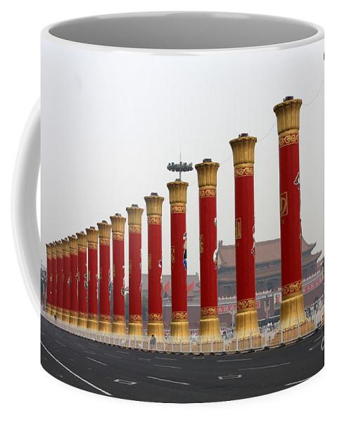 Pillars Coffee Mug featuring the photograph Pillars At Tiananmen Square by Carol Groenen