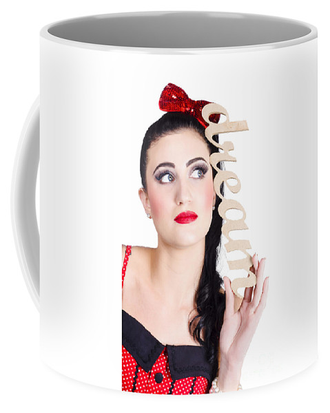 Old Fashioned Coffee Mug featuring the photograph Pin Up Girl Daydreaming by Jorgo Photography - Wall Art Gallery