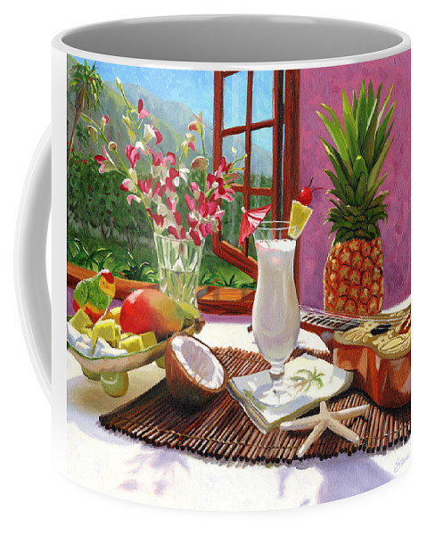 Pina Colada Coffee Mug featuring the painting Pina Colada by Steve Simon