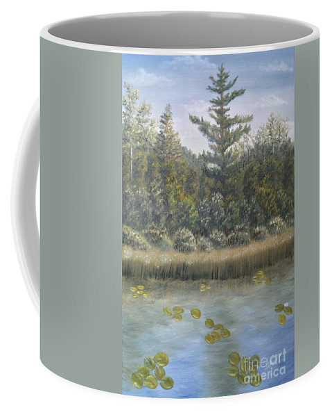 Landscape Coffee Mug featuring the painting Pine And Lily Pads 2 by J O Huppler