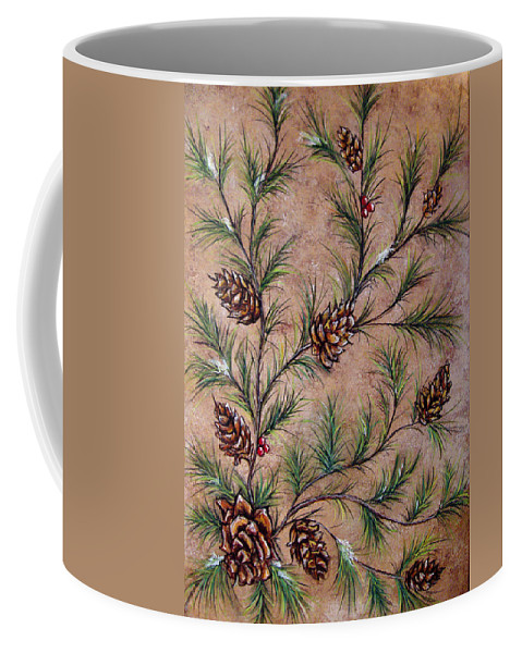 Acrylic Coffee Mug featuring the painting Pine Cones And Spruce Branches by Nancy Mueller