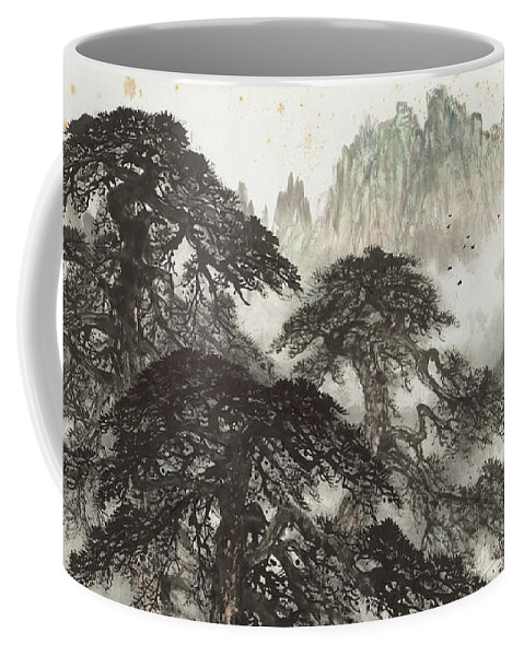 Pine Coffee Mug featuring the painting Pine Landscape Mountain by Li Xiongcai
