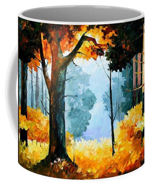 Afremov Coffee Mug featuring the painting Pine Wood by Leonid Afremov