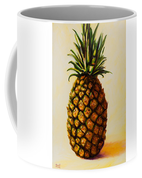 Pineapple Coffee Mug featuring the painting Pineapple Angel by Shannon Grissom