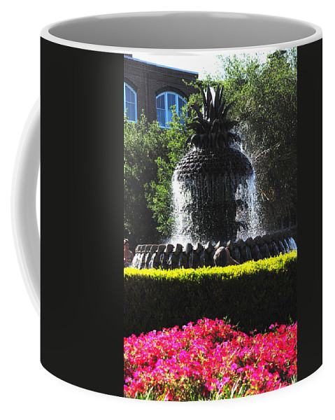 Photography Coffee Mug featuring the photograph Pineapple Fountain Charleston Sc by Susanne Van Hulst