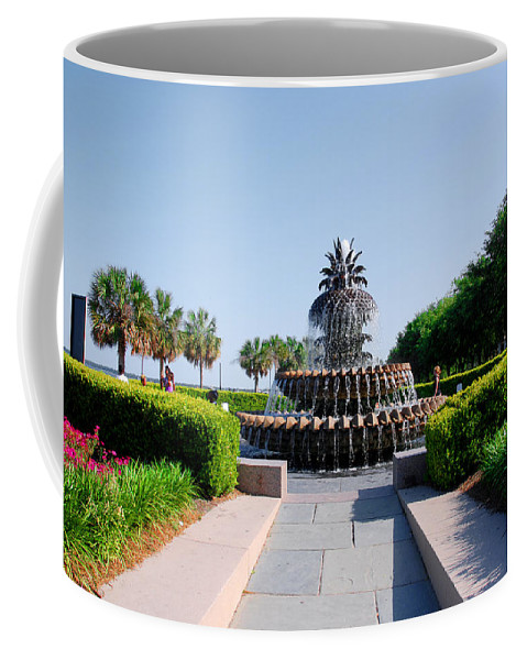 Photography Coffee Mug featuring the photograph Pineapple Fountain In Charleston by Susanne Van Hulst