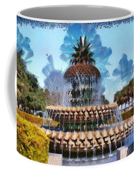 Pineapple Coffee Mug featuring the painting Pineapple Fountain by Lynne Jenkins