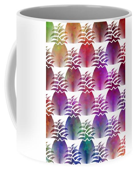 Pineapple Pattern Coffee Mug featuring the mixed media Pineapple Repeat by Kathleen Sartoris