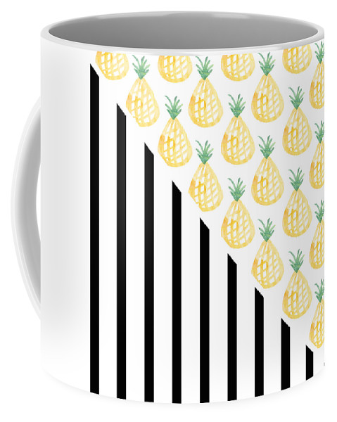 Pineapple Coffee Mug featuring the mixed media Pineapples and Stripes by Linda Woods