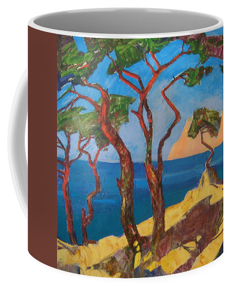 Landscape Coffee Mug featuring the painting Pines Of The Silver Beach by Sergey Ignatenko