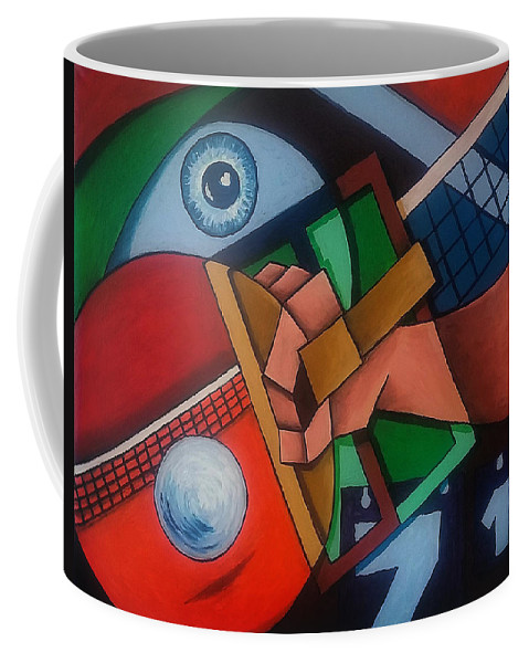 Ping Coffee Mug featuring the painting Ping Pong by Sotuland Art