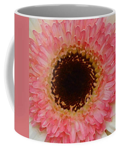 Daisy Coffee Mug featuring the painting Pink And Brown Gerber Center by Amy Vangsgard