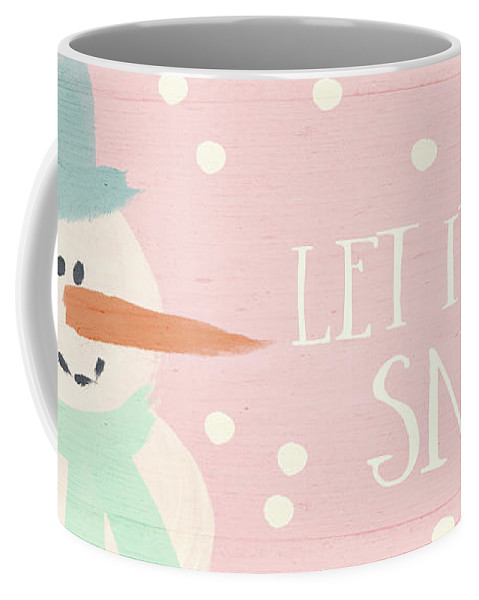 December Coffee Mug featuring the mixed media Pink And White Snowman- Art By Linda Woods by Linda Woods