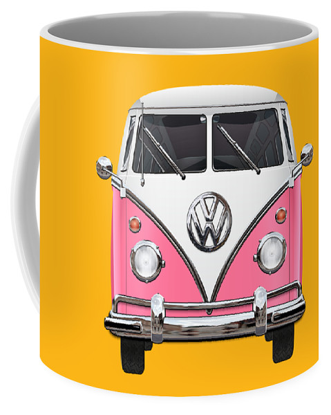 'volkswagen Type 2' Collection By Serge Averbukh Coffee Mug featuring the photograph Pink And White Volkswagen T 1 Samba Bus On Yellow by Serge Averbukh