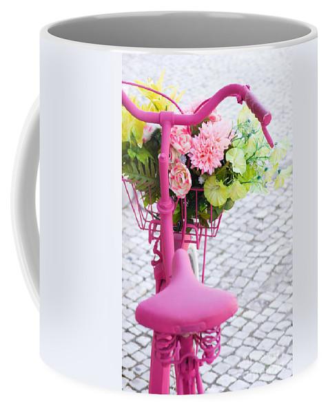 Angle Coffee Mug featuring the photograph Pink Bike by Carlos Caetano