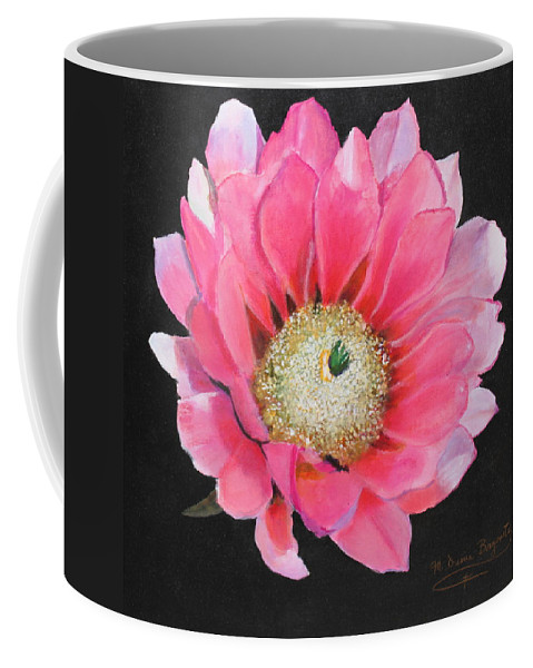 Floral Coffee Mug featuring the painting Pink Cactus Flower by M Diane Bonaparte