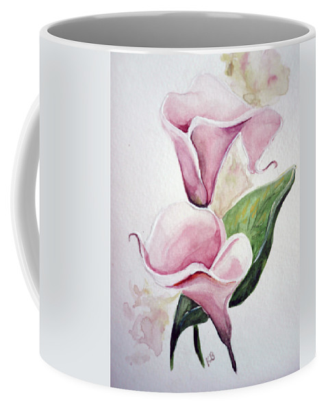 Botanical Painting Pink Paintings Calla Paintings Lily Paintings Flower Paintings Floral Paintings Flora Pink Flower Lily Coffee Mug featuring the painting Pink Callas by Karin Dawn Kelshall- Best