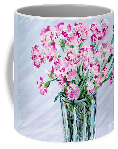 Best Buy Art Coffee Mug featuring the painting Pink Carnations In A Vase. For Sale by Oksana Semenchenko