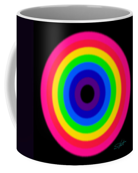 Rainbow Coffee Mug featuring the painting Pink by Charles Stuart