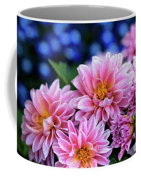 Dahlias Coffee Mug featuring the photograph Pink Dahlias On Lobelia by Vanessa Thomas