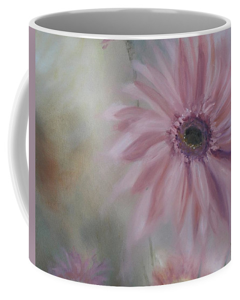 Pink Coffee Mug featuring the painting Pink Daisies by Donna Tuten